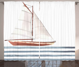 Sailing Theme Boat Waves Curtain