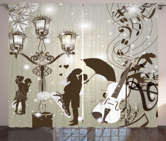 Kissing Couples Music Curtain
