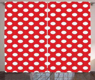 Pop Art White Polka Dots Curtain