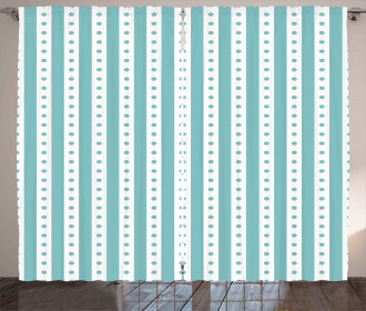 Retro Dots and Stripes Curtain