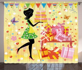 Woman with Birthday Cake Curtain