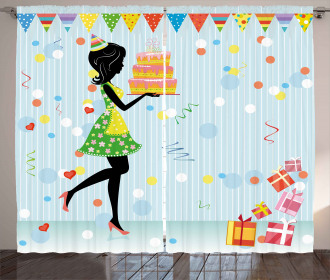 Mother with Cake Cartoon Curtain