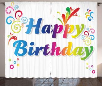 Birthday Message Artsy Curtain