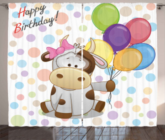 Baby Cow and Balloons Curtain