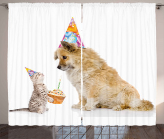 Cat and Dog Birthday Curtain
