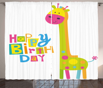 Birthday Baby Giraffe Curtain