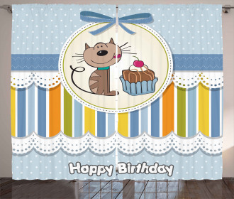 Baby Cat with Cake Curtain