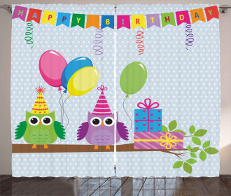 Cartoon Owls at Party Curtain