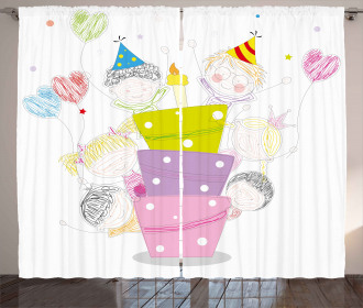 Sketch Children Party Curtain