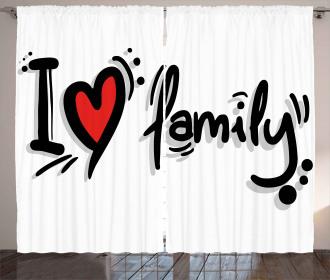 I Heart Family Pictogram Curtain