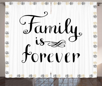 Family Quote Ink Sketch Curtain