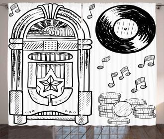Music Box Notes Coins Curtain