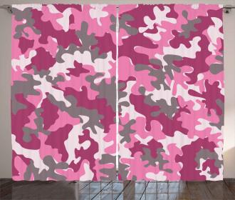 Cute Feminine Camo Vibrant Curtain