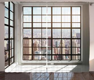 Urban Modern City View Curtain