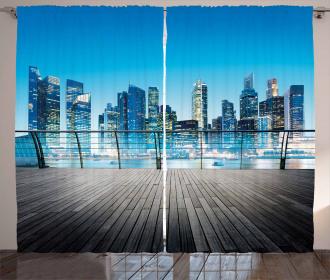 Blurry Skyscrapers Sea Curtain