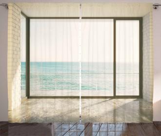 Coastal Scene Ocean View Curtain