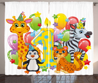 Safari Animal Birthday Curtain