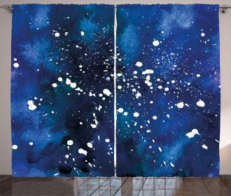 Grunge Space Theme Art Curtain