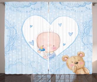 Baby Boy Teddy Bear Curtain
