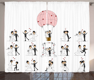 Bride Groom Cartoon Curtain