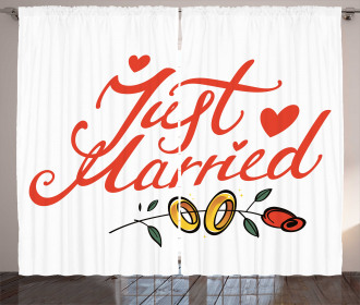Just Married Rose Rings Curtain