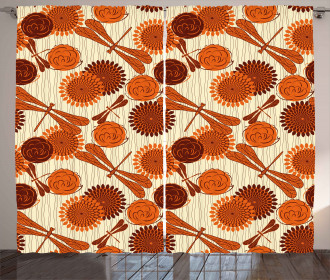 Orange Flowers Dragonfly Curtain