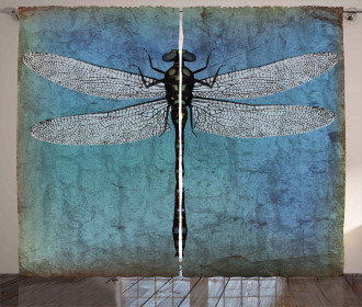 Dragonfly Bug Turquoise Curtain