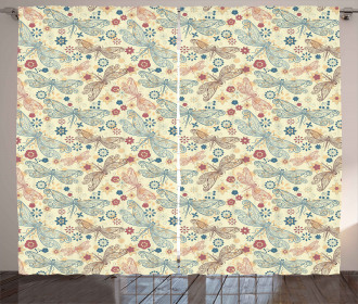 Dragonflies and Flowers Curtain