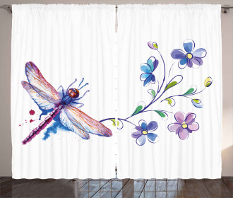 Ivy Flowers Dragonflies Curtain