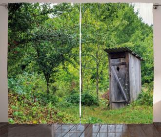 Spring Forest Worn Hut Curtain