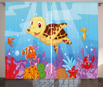 Cute Baby Turtle Fishes Curtain