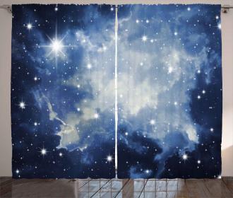 Blue Galaxies Curtain