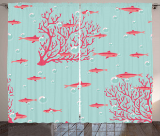 Fishes Coral Reef Aquatic Curtain