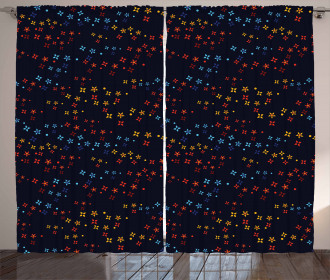 Vibrant Stars Flowers Curtain