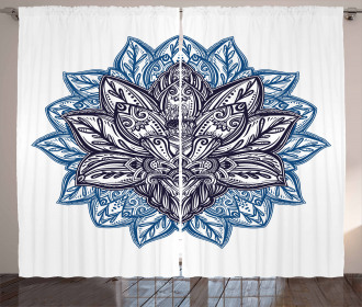 Boho Lotus Flower Curtain