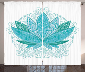 Ethnic Mehndi Lotus Zen Curtain