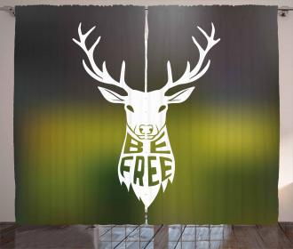 Deer Head Art Curtain