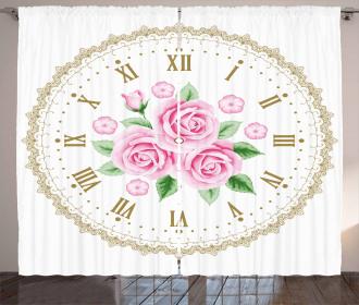 Vintage Clock Roses Curtain