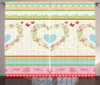 Country Rose Hearts Curtain