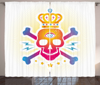 Digital Print Skull Crown Curtain