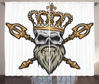 Skull Head with Gray Beard Curtain