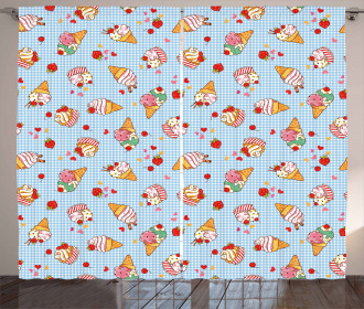 Checkered Tartan Motif Curtain