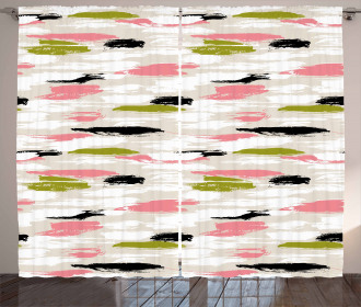 Thick Brushstrokes Stripes Curtain