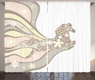 Floral Horse Galloping Curtain