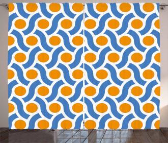 Orange Dots Lines Curtain