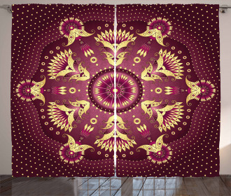 Purple Mandala Eastern Retro Print 2 Panel Window Drapes