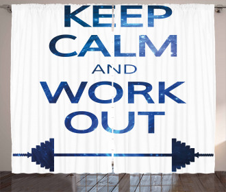 Keep Calm and Work Out Curtain