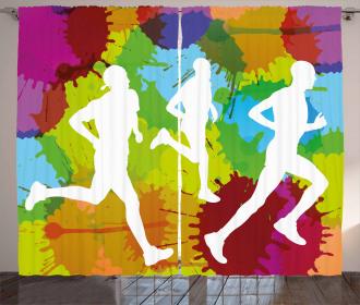 Runners in Watercolors Curtain
