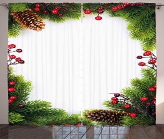 Xmas Frame Pine Cones Curtain