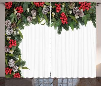 Holly Mistletoe Cones Curtain